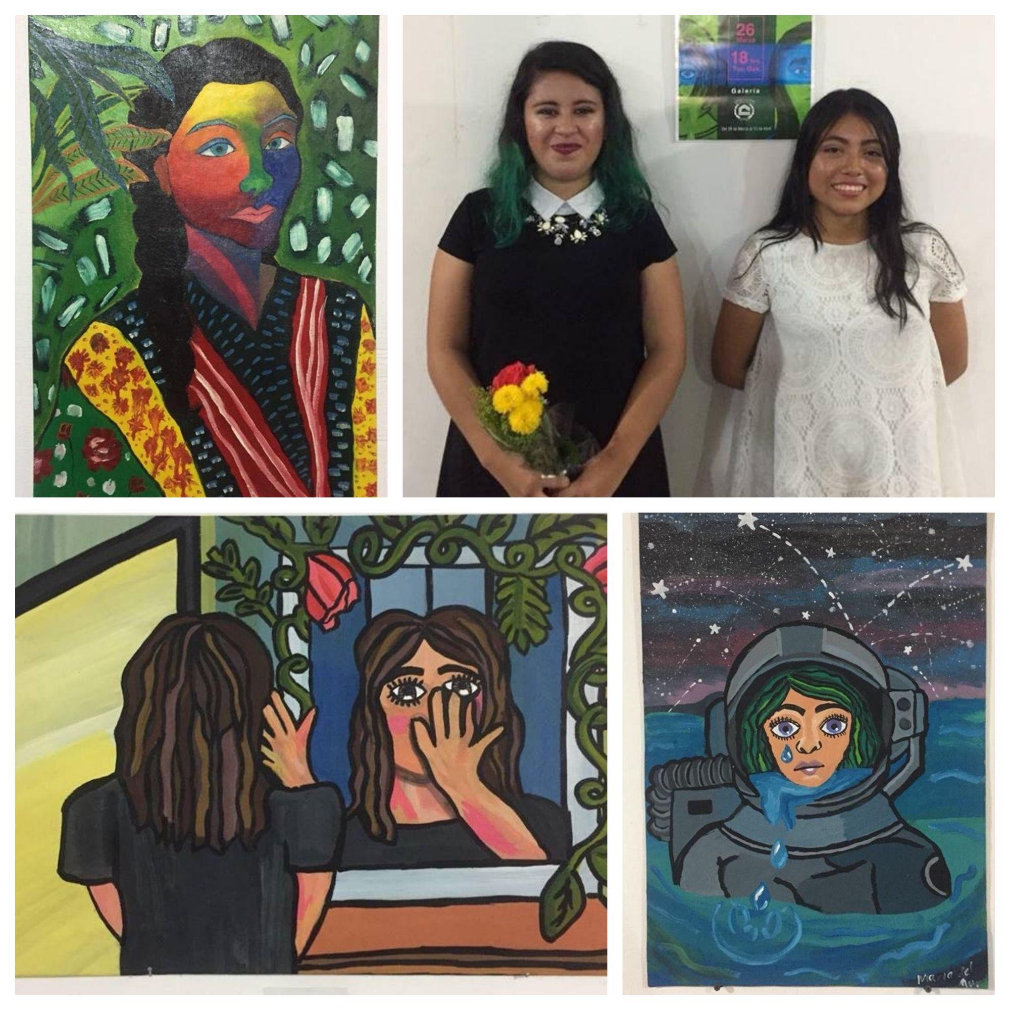 Jóvenes estudiantes montan exposición pictórica en  Casa de la Cultura de Tuxtepec
